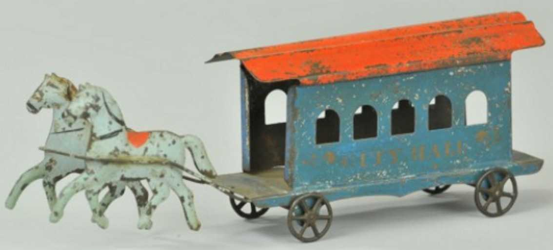 fallows City hall 9,75 tin toy coach amercian city hall trolley, early american tin horse drawn t