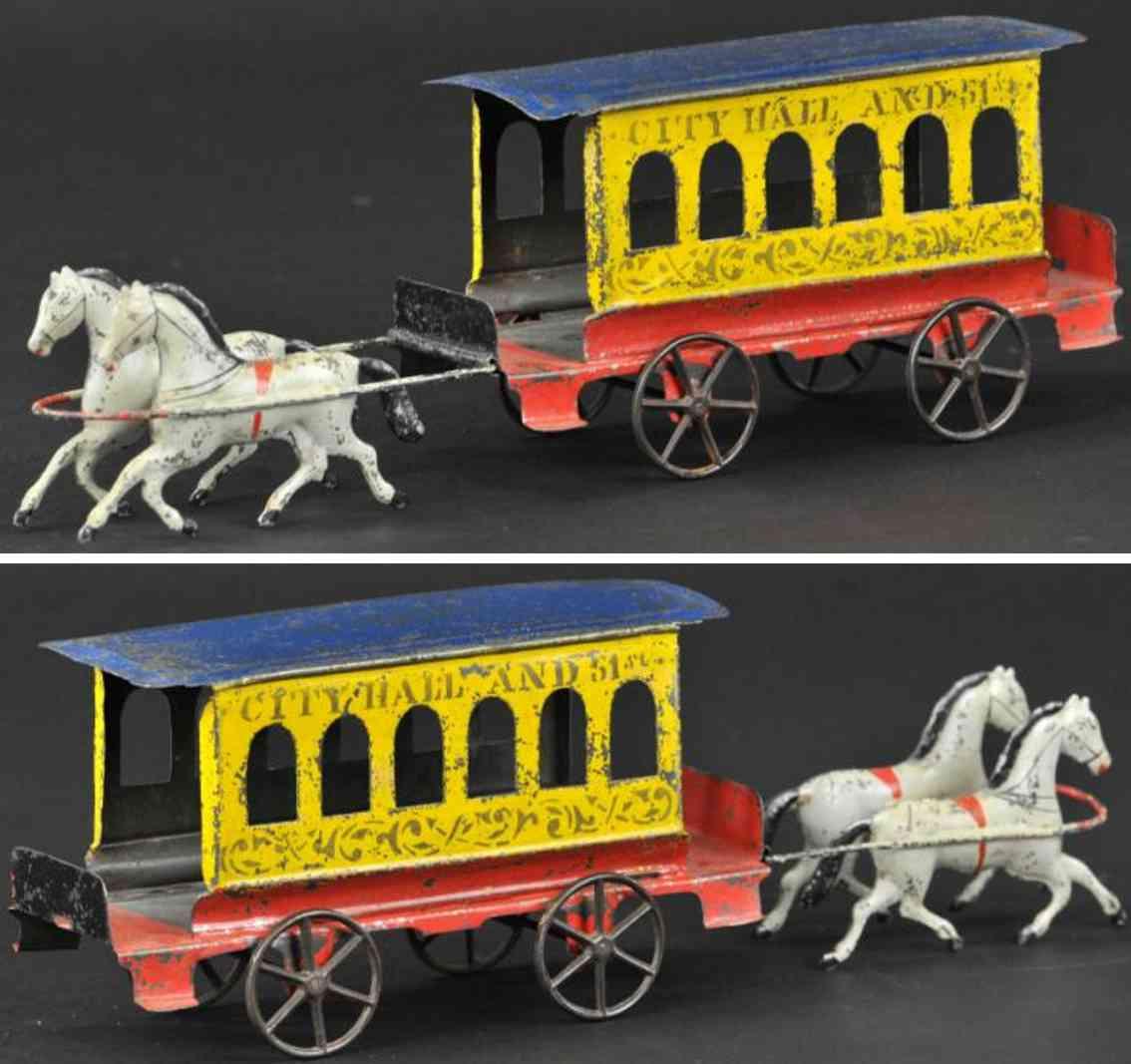 fallows tin toy city hall trolley two white horses