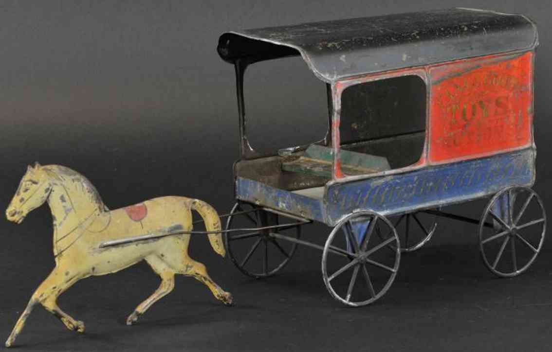 fallows tin toy coach toys  & notions delivery wagon one white horse