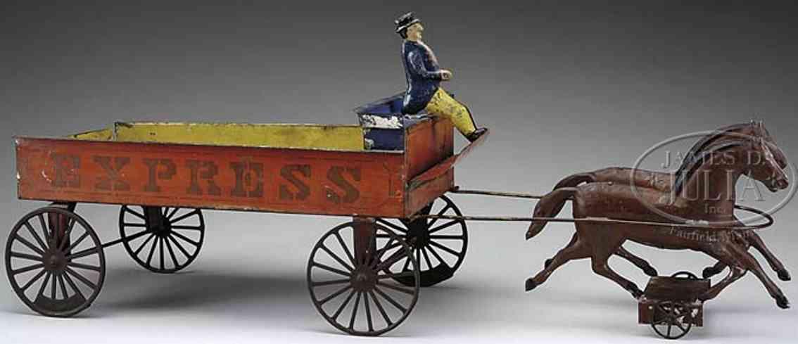 fallows blech spielzeug kutsche express kutsche mit zwei braunen pferden handbemalt vielfarb