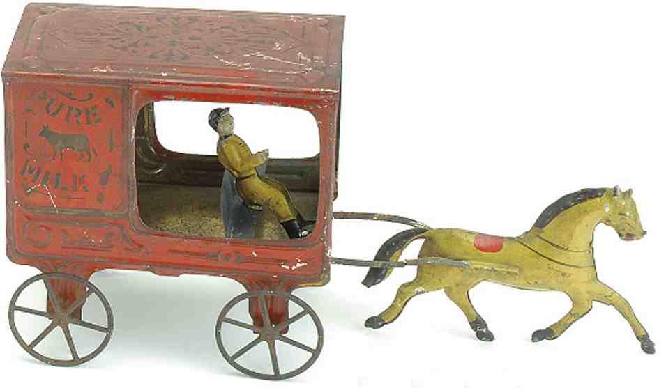 fallows blech spielzeug milchkutschenwagen ein pferd  kutscher
