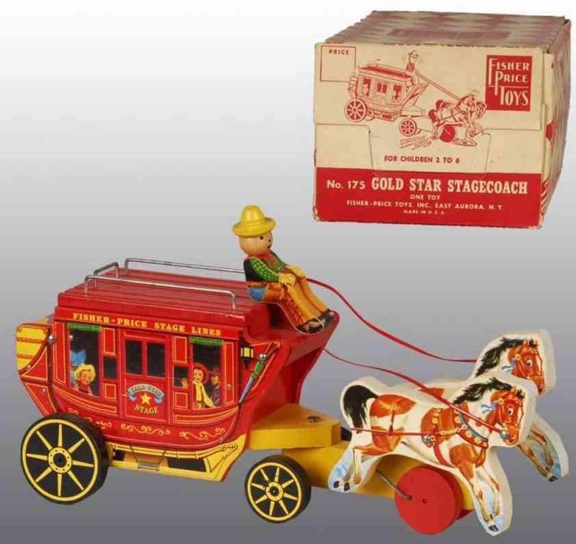fisher-price 175 holz spielzeug kutsche kutscher zwei pferde gepaeck