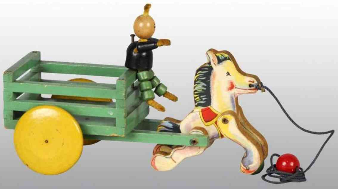 fisher-price 600 wooden toy coach  woodsy wee cart with pony,