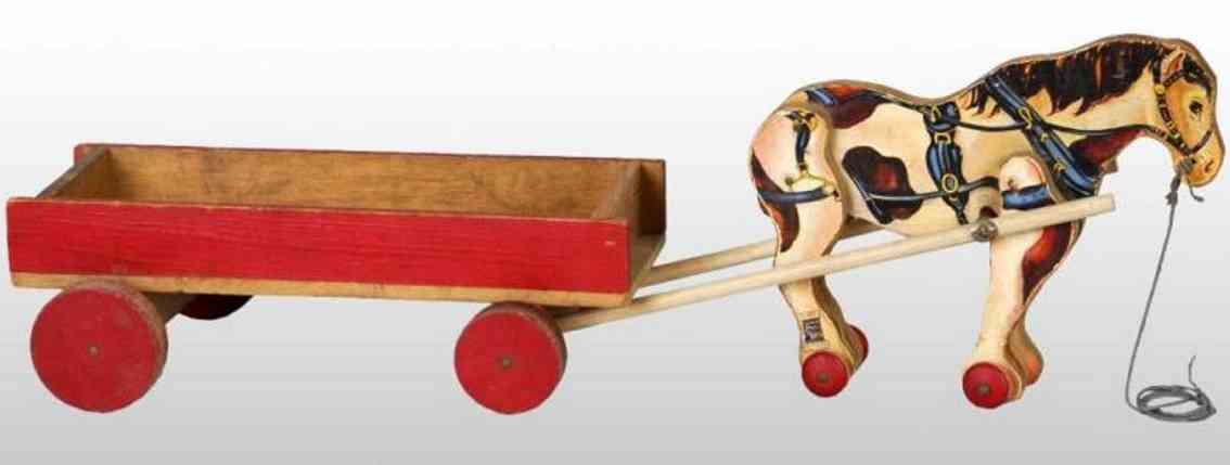 fisher-price 605 wooden toy coach horse with wagon