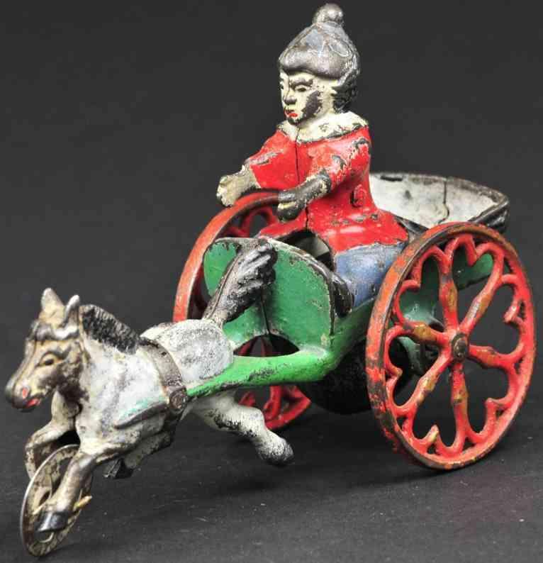 gong bell 43 gusseisen pony mit wagen und jungen als glockenspielzeug