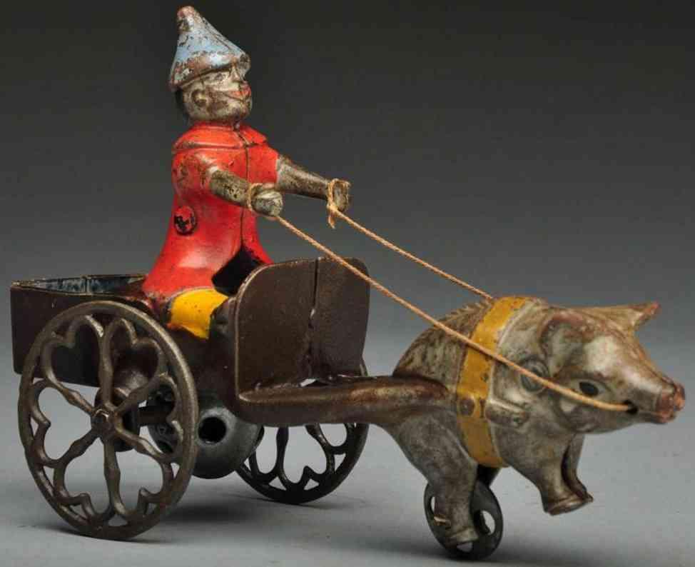 gong bell spielzeug gusseisen clown in kutsche schwein glocke