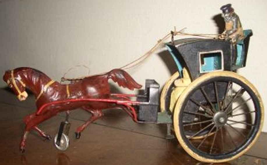 guenthermann blech spielzeug kutsche fahrer passagier pferd uhrwerk