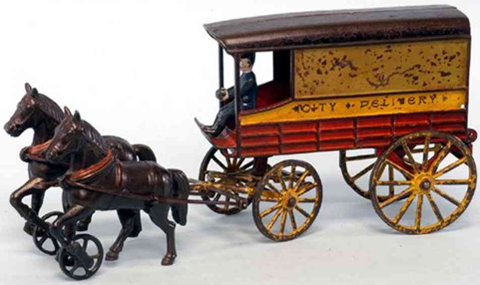 harris toy co cast iron toy city delivery  two horses