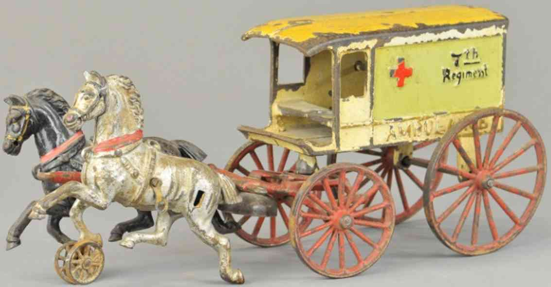 harris toy co cast iron toy ambulance two horses 7th regment