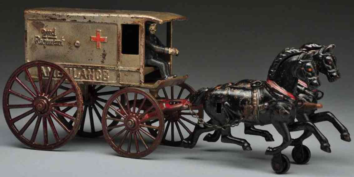 harris toy co cast iron ambulance horse-drawn toy 2nd regiment