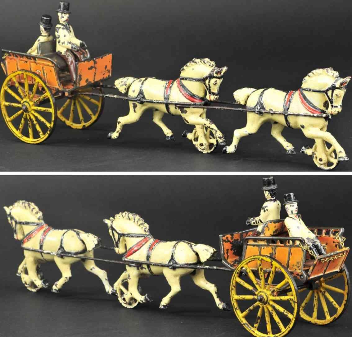 harris toy co spielzeug gusseisen tandemkutsche ruecken an ruecken zwei Pferde
