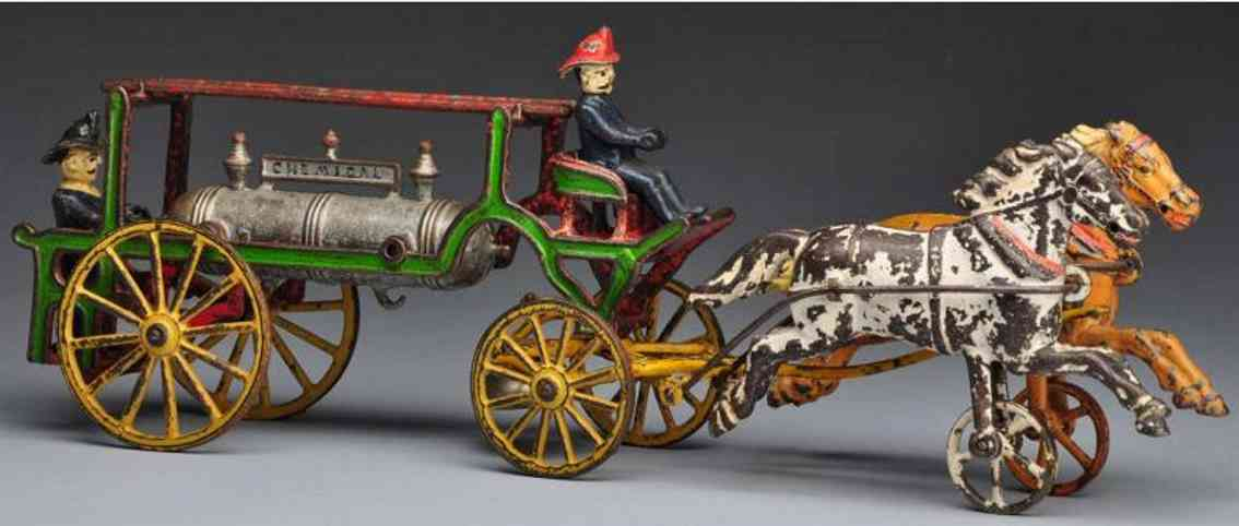 harris toy co cast iron toy cast iron chemical wagon horse-drawn