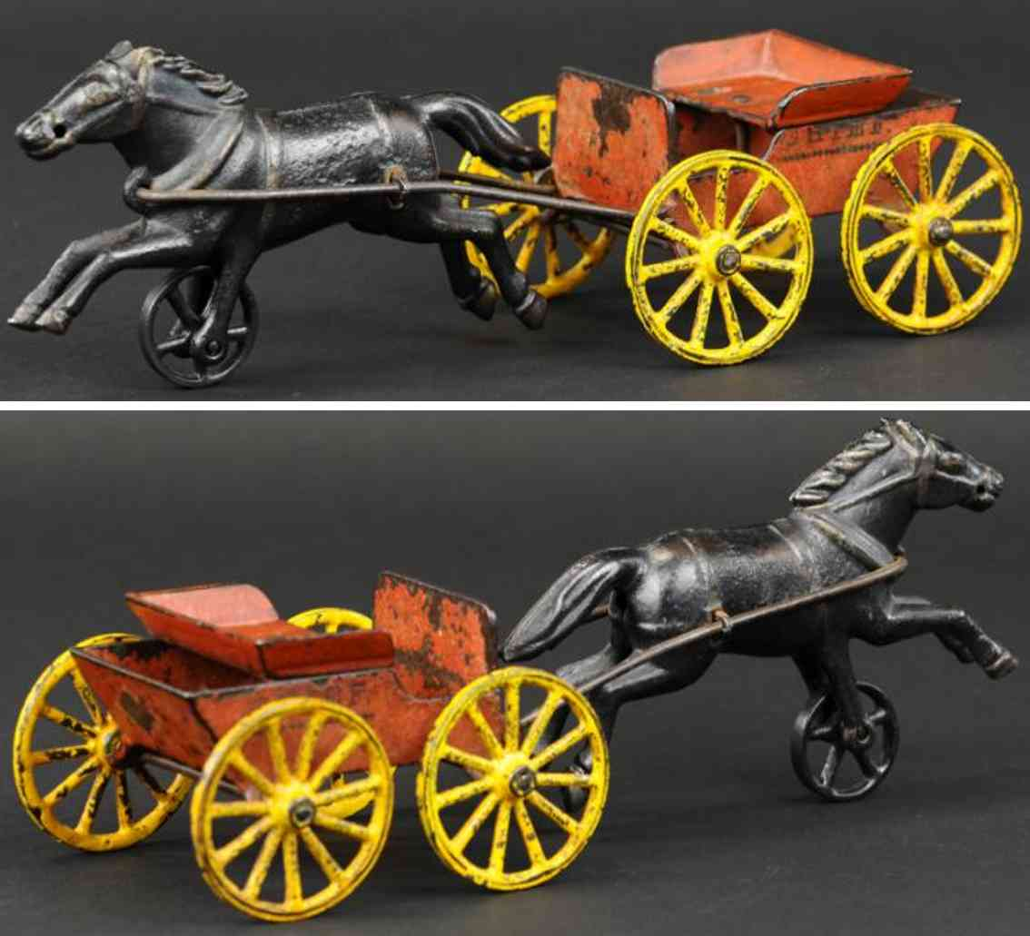 harris toy co cast iron toy black horse drawn fire chief cart red
