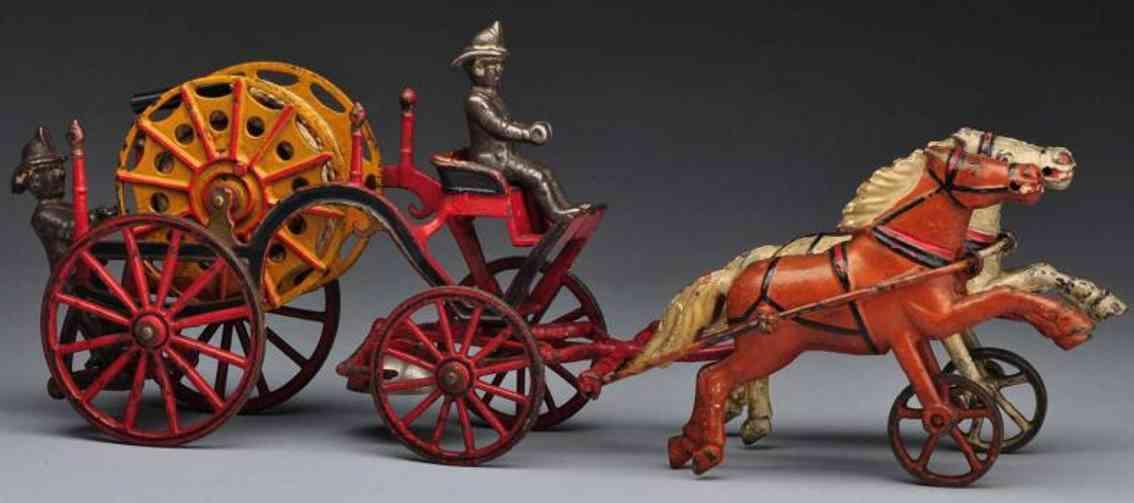 Harris Toy Co Schlauchtrommel-Kutsche aus Gusseisen mit zwei Pferden