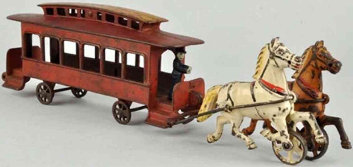 harris toy co cast iron toy broadway streetcar trolley 2 horses