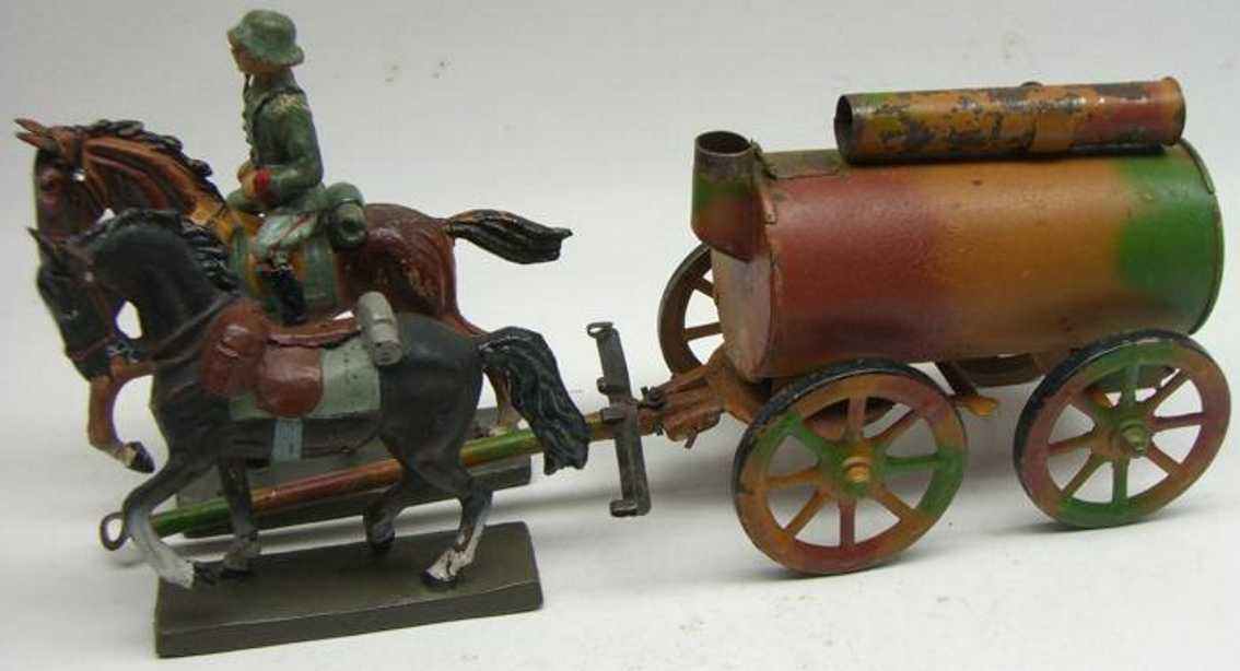 hausser elastolin military toy field baker's shop with two horses and rider field kitchen