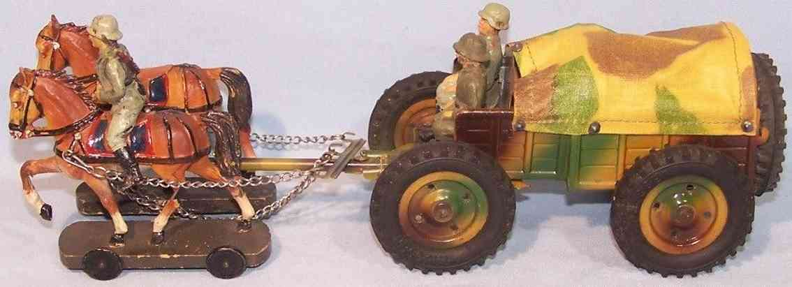 hausser elastolin military toy rare coach with two team horses