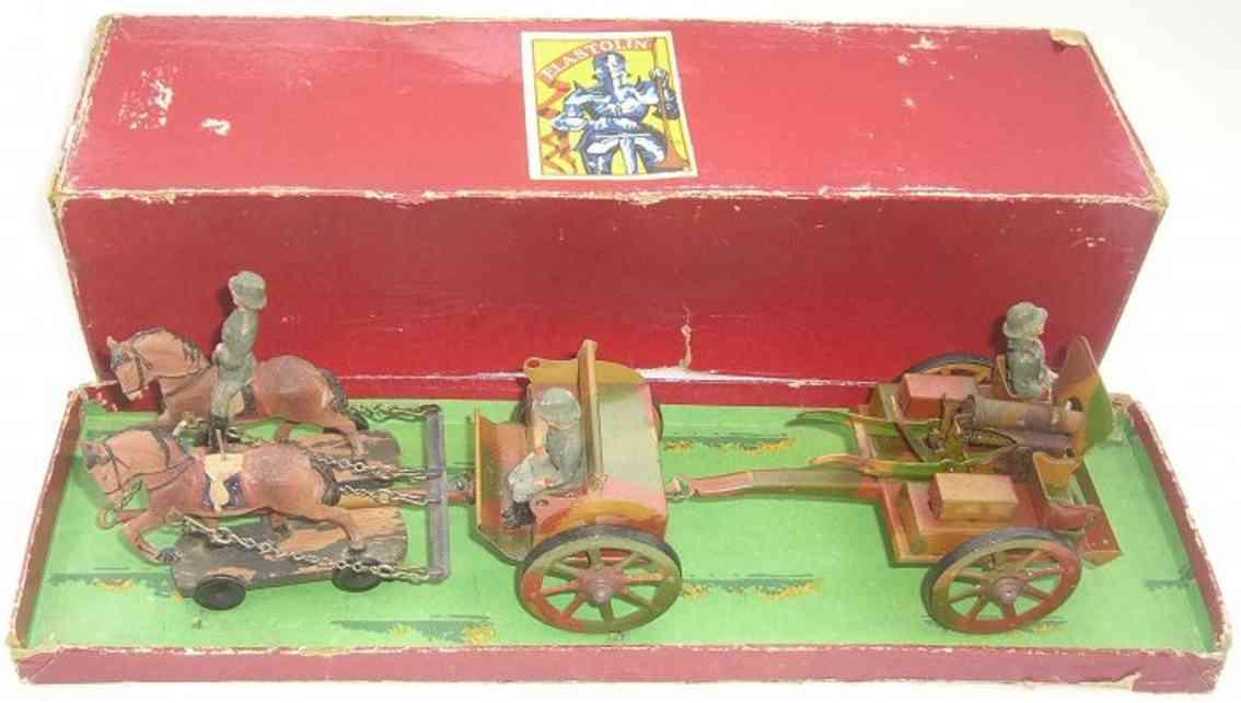 Hausser Elastolin Pferdegespann mit Kutsche und MG