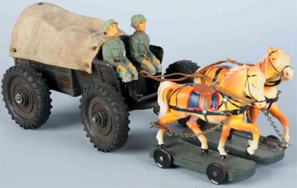 hausser elastolin militaer spielzeug munitionswagen gummireifen