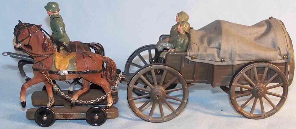 hausser elastolin militaer spielzeug kutsche pferdegespann mit planwagen und drei figuren