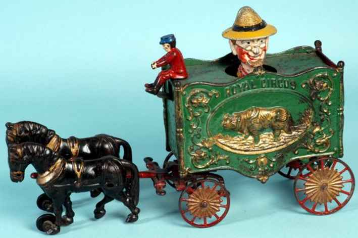 hoffmann g spielzeug gusseisen royal-zirkus-wagen zwei pferde