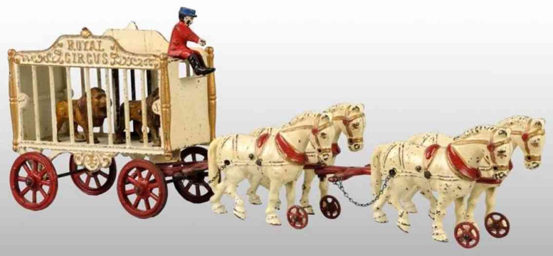 hubley zirkuskaefigwagen zwei loewen figur vier Pferden