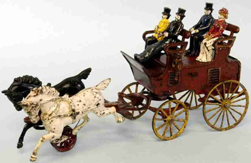 hubley spielzeug gusseisen kutsche in rot zwei pferde