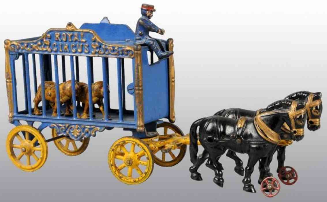 hubley zirkuskaefigwagen zwei tiger kutscher schwarze Pferde