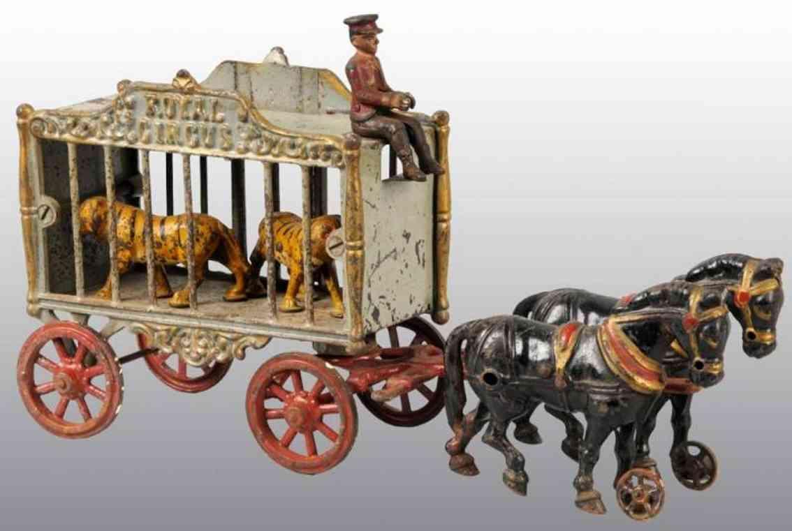 hubley zirkuskaefigwagen zwei tiger kutscher pferde