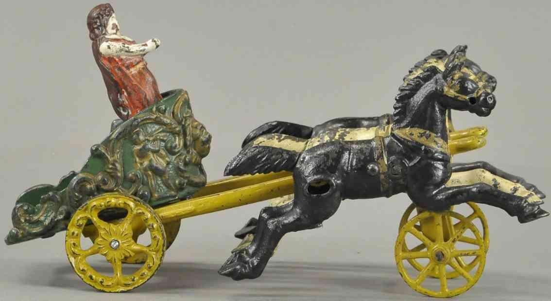 hubley gusseisen zirkus-streitwagen frau drei pferde