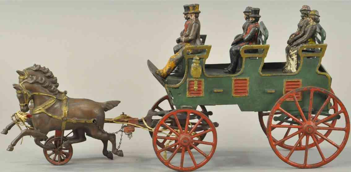 hubley cast iron toy three seat brake two black horses six figures