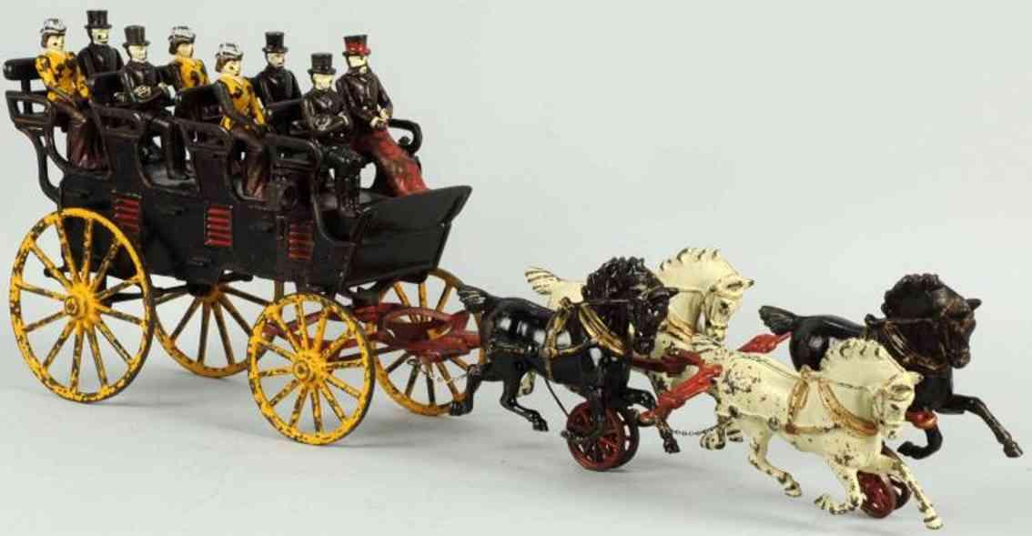 hubley cast iron toy 4-seat brake four horses