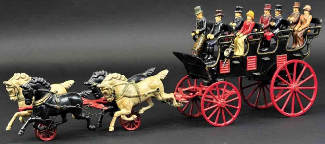 hubley spielzeug gusseisen kutsche vier sitzreihen pferde acht figuren