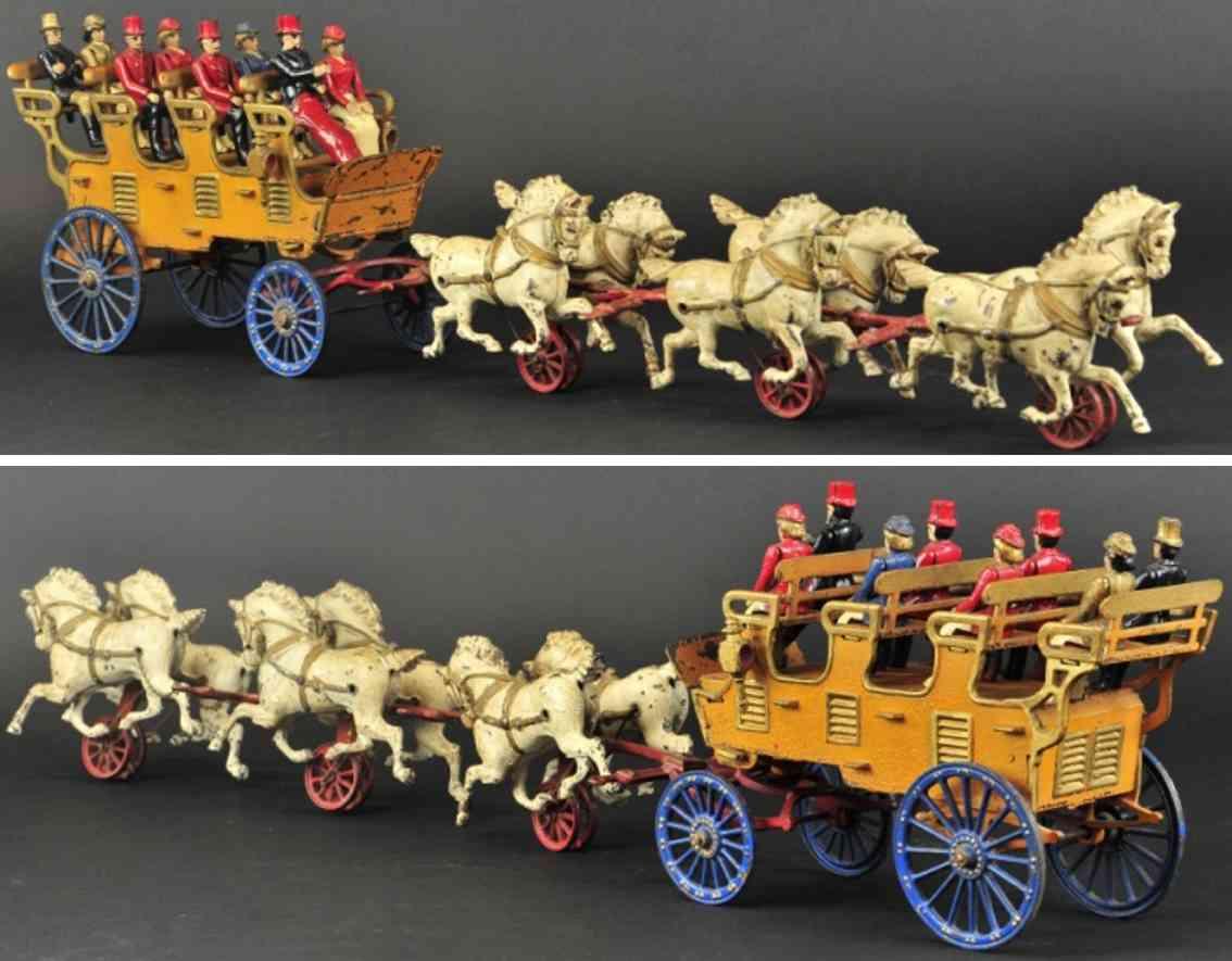 hubley spielzeug gusseisen kutsche mit vier sitzreihen sechs pferde
