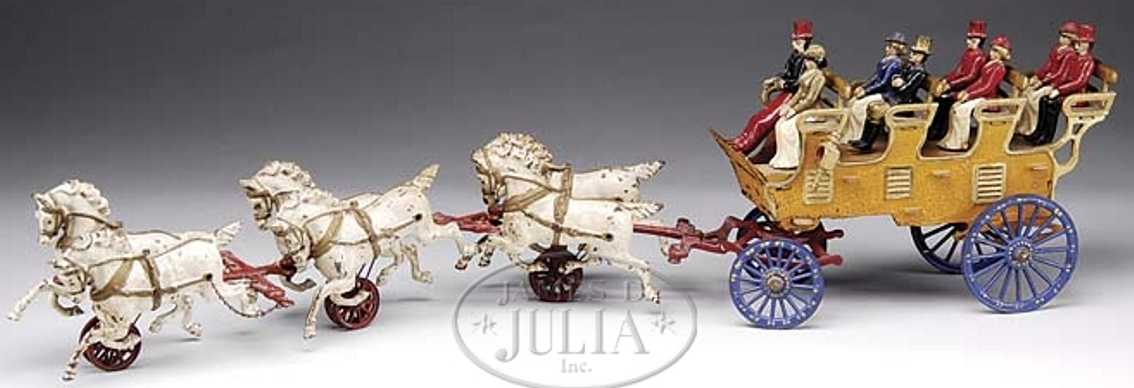 hubley cast iron toy coach 4-seat brake