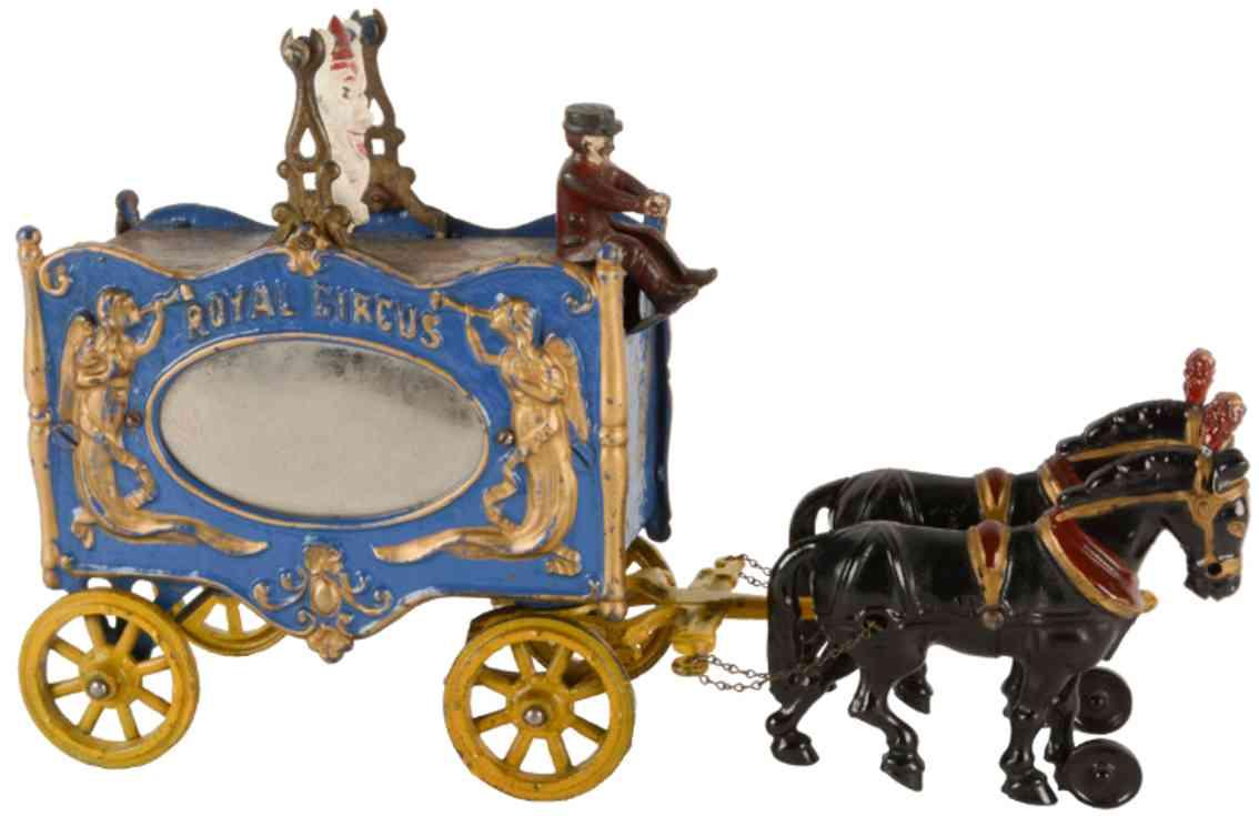 hubley spielzeug gusseisen orgelkutsche spiegel 2 pferde clown royal circus