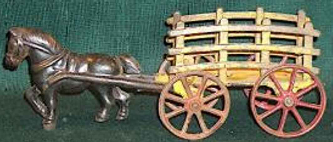 hubley cast iron toy dray wagon one horse