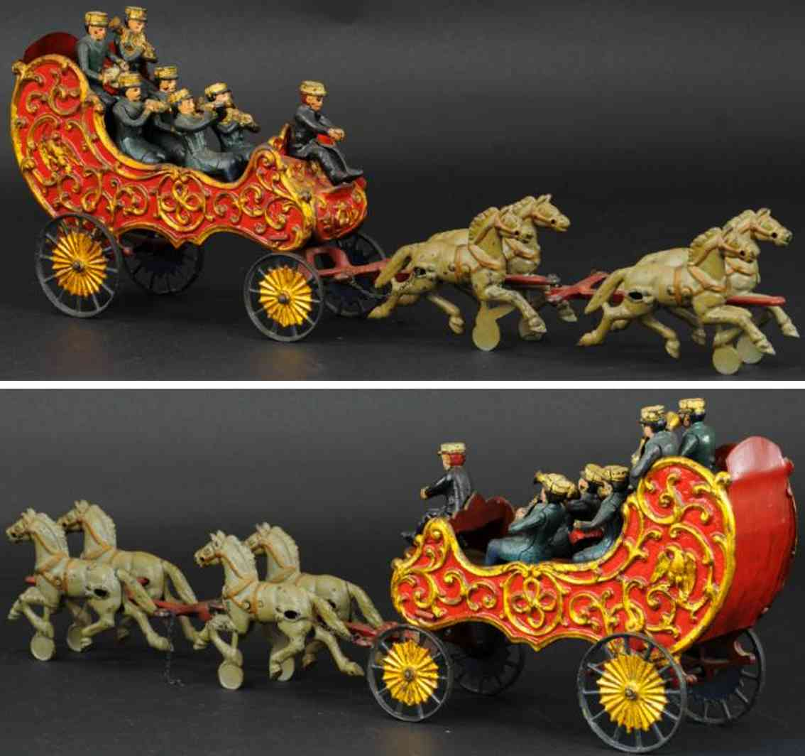 hubley cast iron toy royal circus band wagon driver six musicians four horses