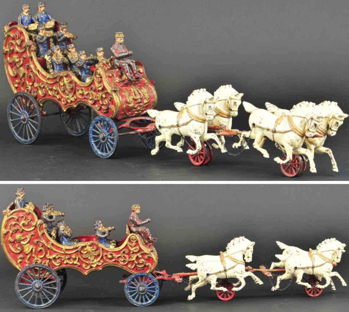 hubley spielzeug gusseisen musikerkutsche  ror gold vier pferde