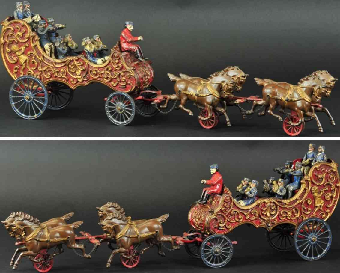 hubley spielzeug gusseisen sthalbelch koenigliche zirkuskutsche vier pferde