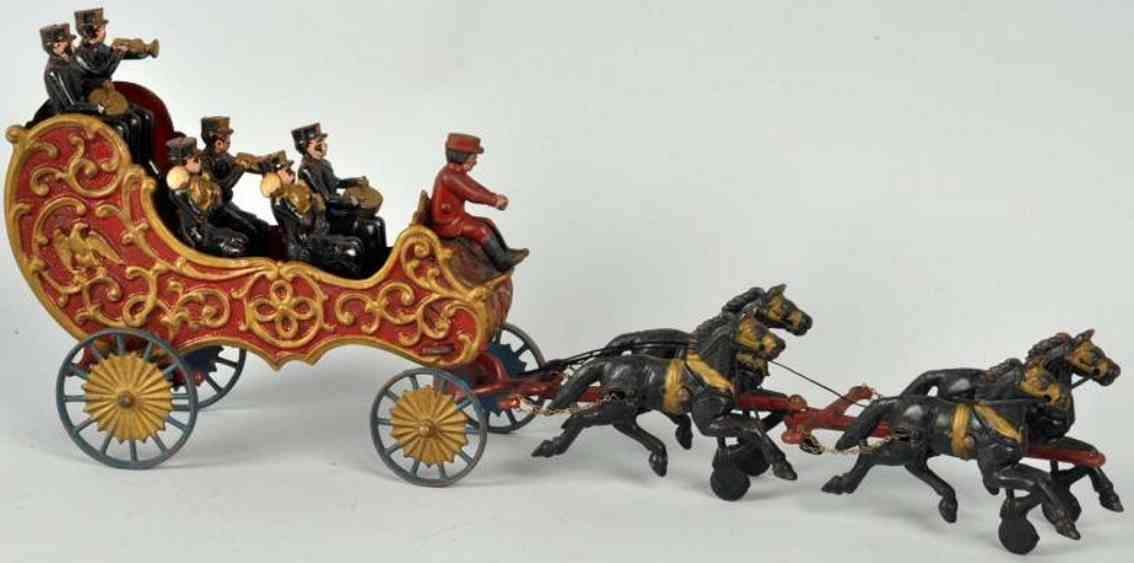 hubley cast iron toy horse-drawn band wagon vour horses six musicians
