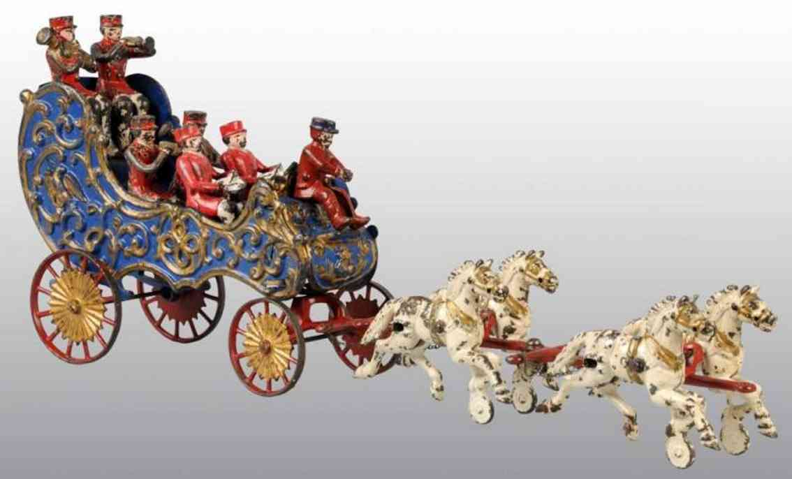 hubley cast iron toy band wagon blue six musicians four horses