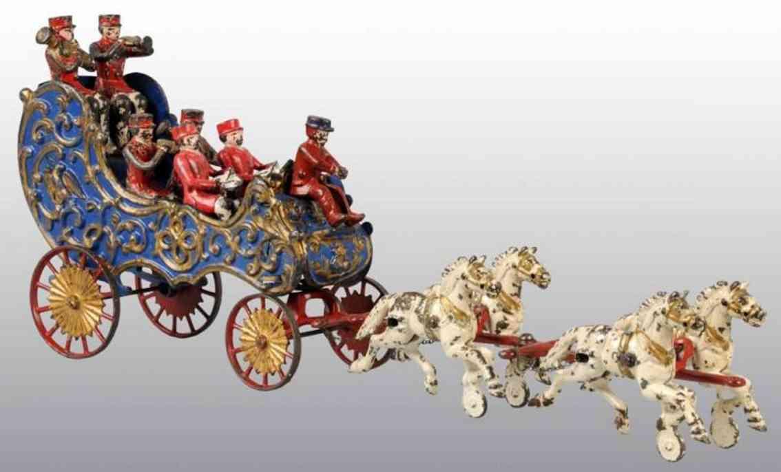 hubley gusseisen musikwagen blau vier pferde sechs musiker