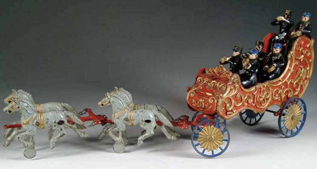 hubley cast iron toy band wagon four horses