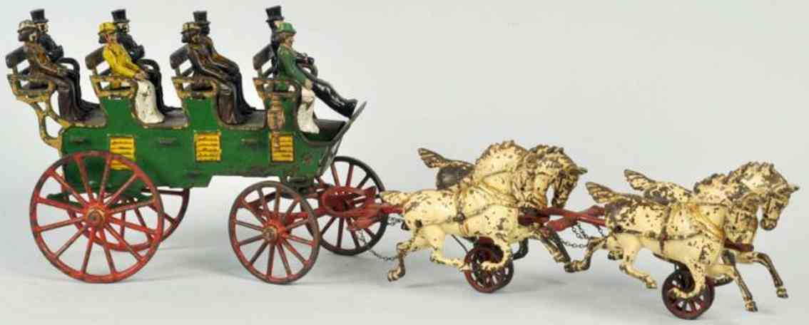 hubley cast iron horse-drawn 4-seat brake toy with side lamp