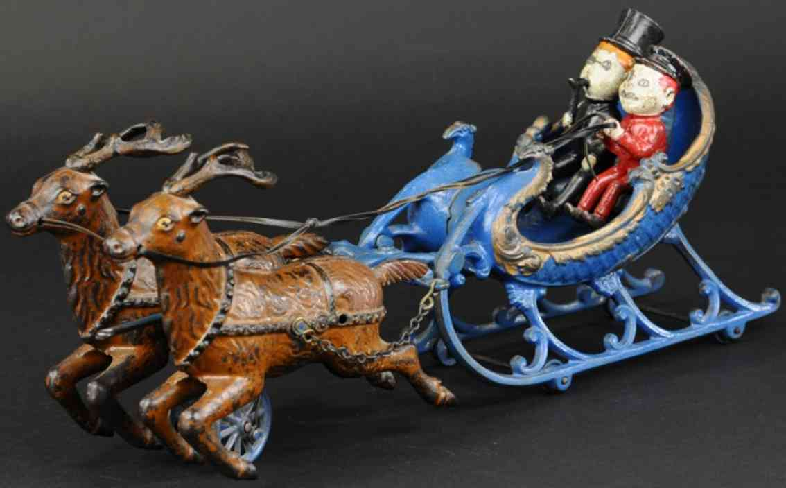 hubley cast iron toy sleigh two brownie figures reindeer