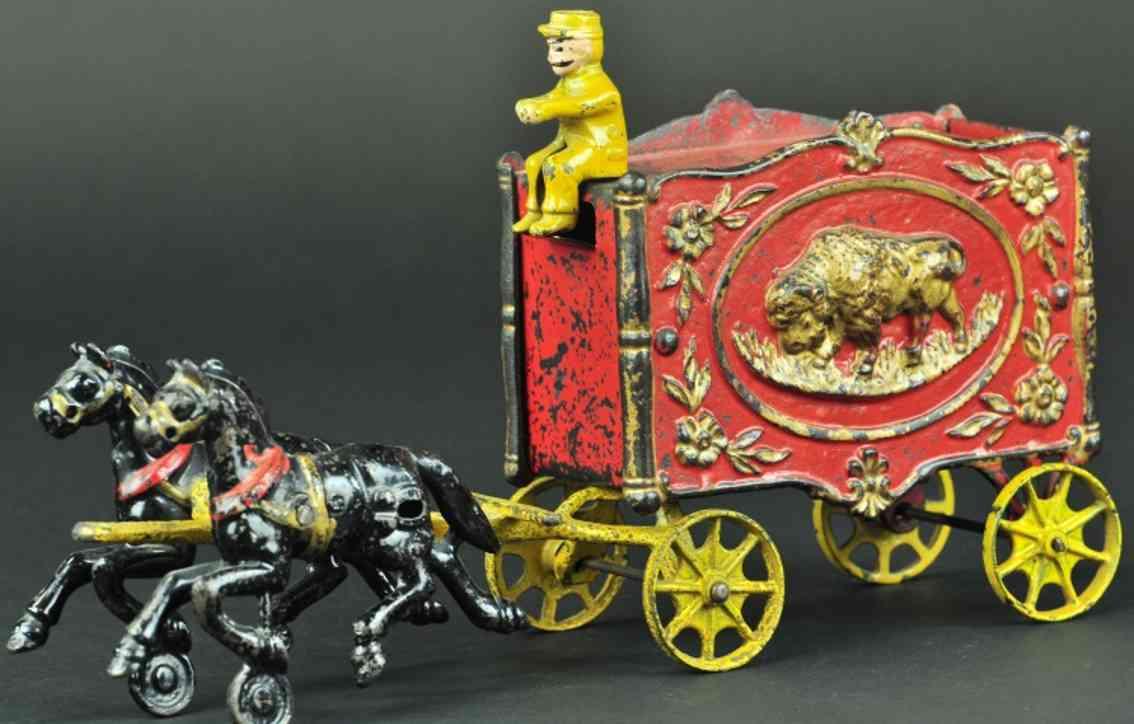 hubley spielzeug gusseisen zirkuswagen rot bueffel zwei pferde