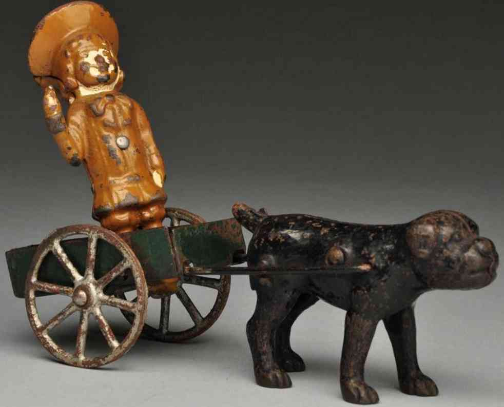 Hubley Cast iron Buster Brown & Tige cart toy