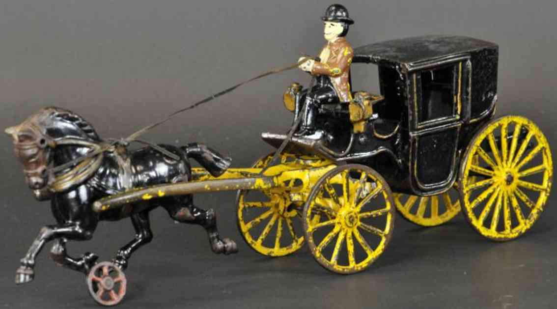 hubley cast iron toy horse drawn cabriolet