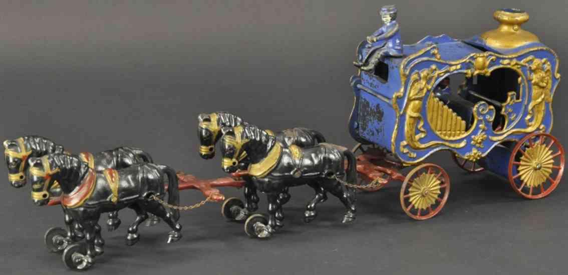 hubley spielzeug gusseisen kutsche orgel gusseisen blau vier schwarze pferde